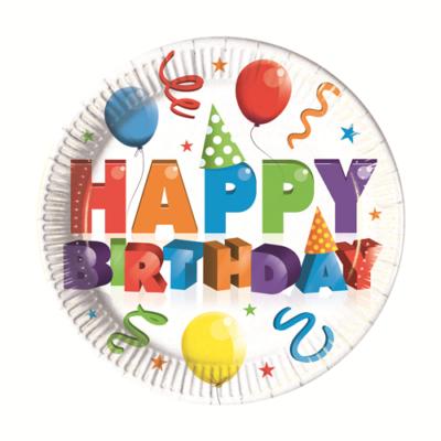 Lufis - szerpentines Happy Birthday feliratú parti tányér