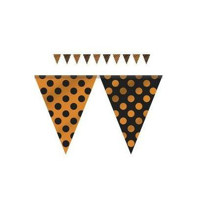 Narancssárga-Fekete Pöttyös Parti Zászlófüzér Halloweenre