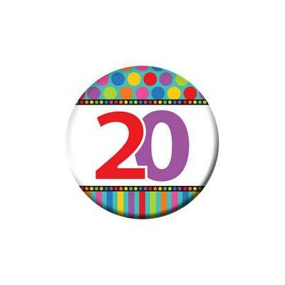 20-as Születésnapi Számos Kitűző - 5,5 cm