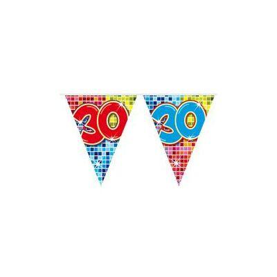 Színes Kockás Születésnapi Zászlófüzér - 30-as