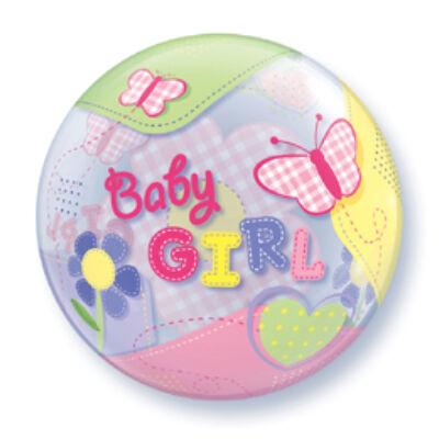 56 cm-es Bubbles léggömb babaszületésre, Baby Girl Butterflies