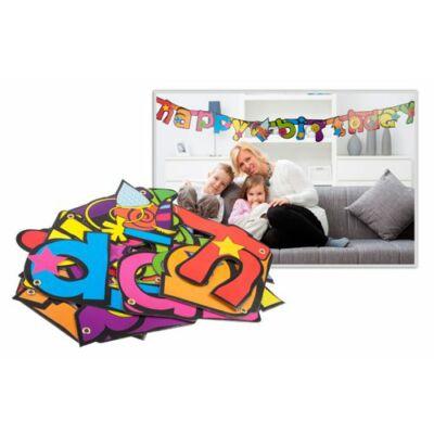 Felirat Happy Birthday színes, mintás