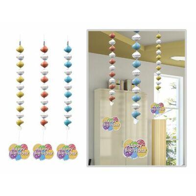 Függő dekoráció Happy Birthday felirattal 3 db
