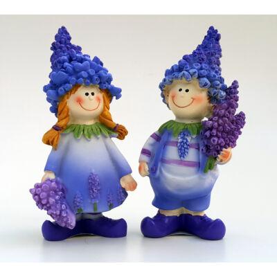 Levendula figura 11cm-es fiú vagy lány kezükben virággal
