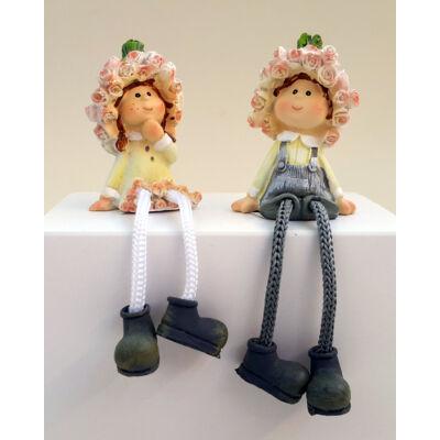 Rózsa lógólábú lány vagy fiú figura