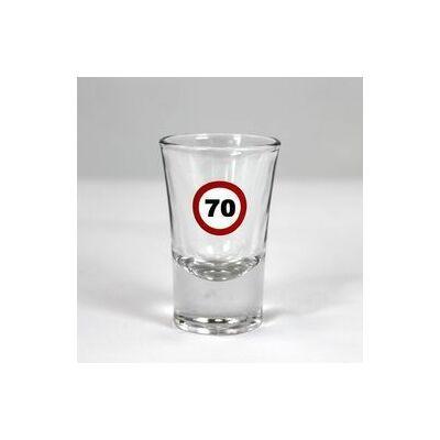 Sebességkorlátozó mintás 70. születésnapi feles üvegpohár