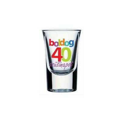 Feles pohár - 'Boldog 40. szülinapot' felirattal