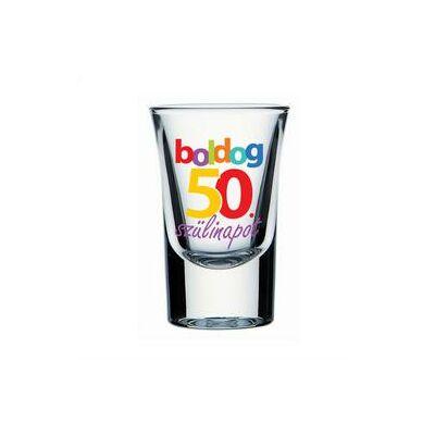 Feles pohár - 'Boldog 50. szülinapot' felirattal