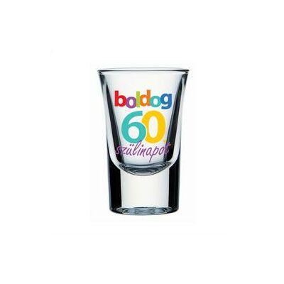 Feles pohár - 'Boldog 60. szülinapot' felirattal