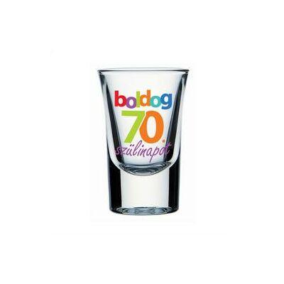 Feles pohár - 'Boldog 70. szülinapot' felirattal