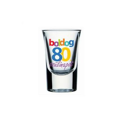 Feles pohár - 'Boldog 80. szülinapot' felirattal