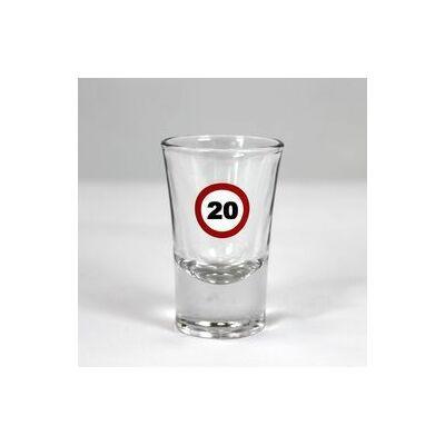 Sebességkorlátozó mintás 20. születésnapi feles üvegpohár