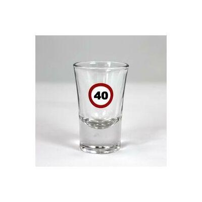 Sebességkorlátozó mintás 40. születésnapi feles üvegpohár