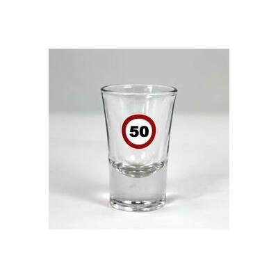 Sebességkorlátozó mintás 50. születésnapi feles üvegpohár