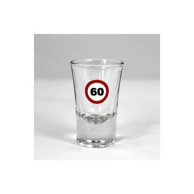 Sebességkorlátozó mintás 60. születésnapi feles üvegpohár
