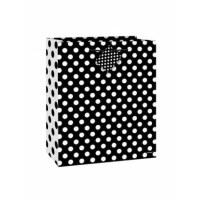Ajándéktasak - Fekete-fehér pöttyös - 23x18 cm