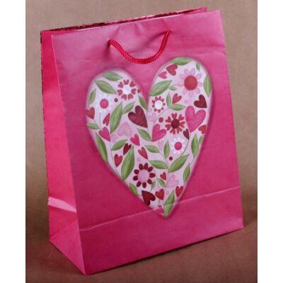 Ajándéktasak - Virágos szív mintás - 23x18 cm