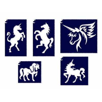 Állatos sablon szett - Unikornisos, lovas
