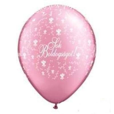 11 inch-es Sok Boldogságot feliratú esküvői lufi - pearl pink