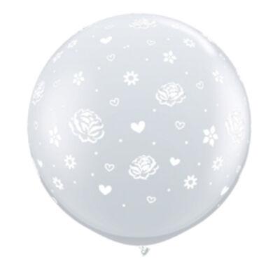 3 feet-es Roses és Flowers-A-Round Diamond Clear Esküvői Lufi