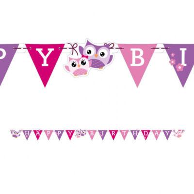 Baglyos 'Happy Birthday' betűfüzér - Lányos