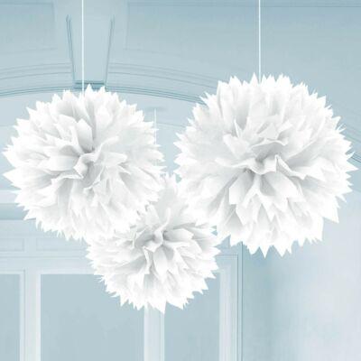 Fehér színű bolyhos függő dekoráció - 3 db-os
