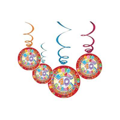 Boldog 40. szülinapot színes parti függő dekoráció