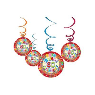 Boldog 60. szülinapot színes parti függő dekoráció