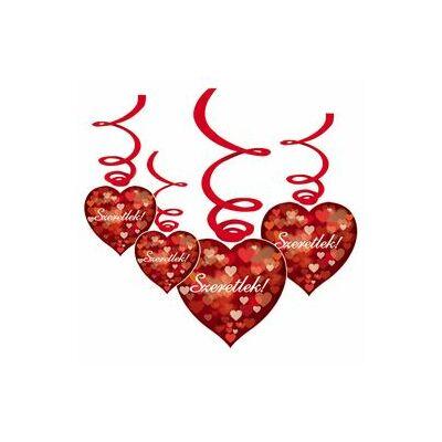 'Szeretlek!' feliratú színes szívecskék függődekoráció - 6 db-os