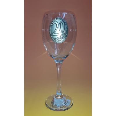 Óncímkés boros pohár - 20 felirattal
