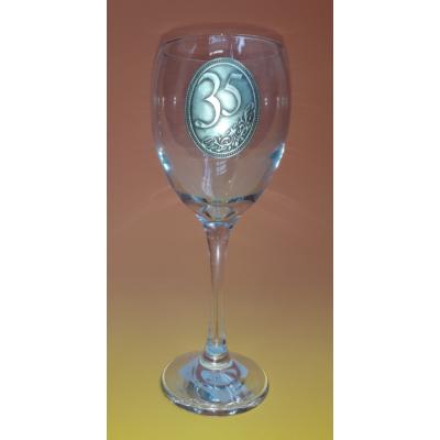 Óncímkés boros pohár - 35 felirattal