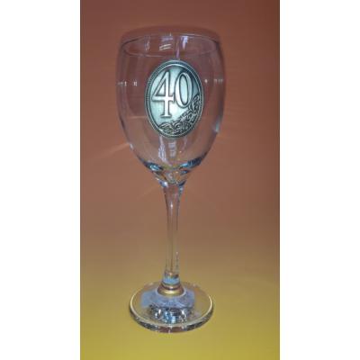 Óncímkés boros pohár - 40 felirattal