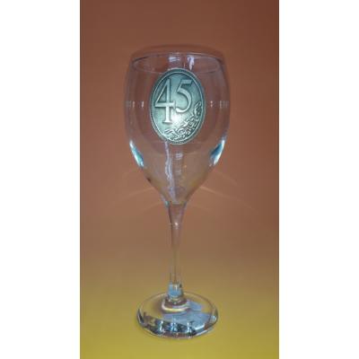 Óncímkés boros pohár - 45 felirattal