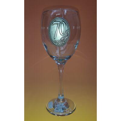 Óncímkés boros pohár - 70 felirattal
