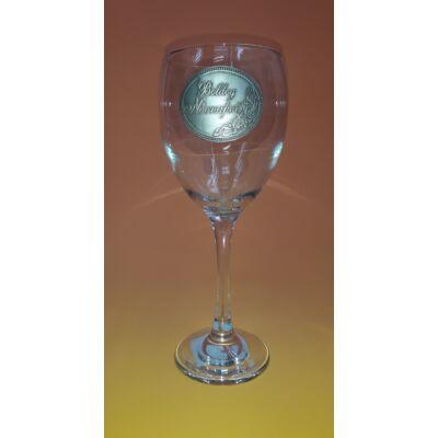 Óncímkés boros pohár - Boldog Névnapot! felirattal