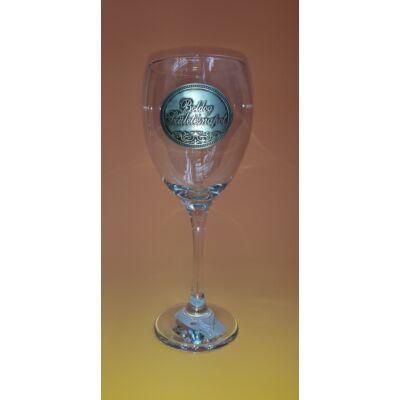 Óncímkés boros pohár - Boldog Születésnapot! felirattal