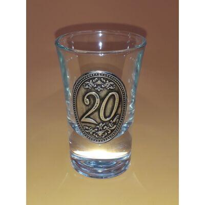 Óncímkés pálinkás pohár - 20 felirattal