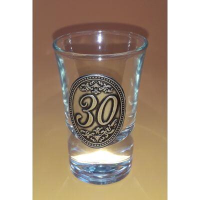 Óncímkés pálinkás pohár - 30 felirattal