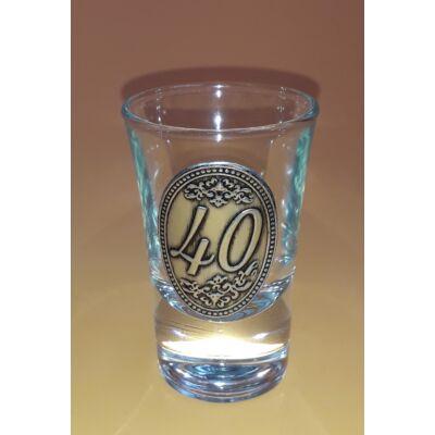 Óncímkés pálinkás pohár - 40 felirattal