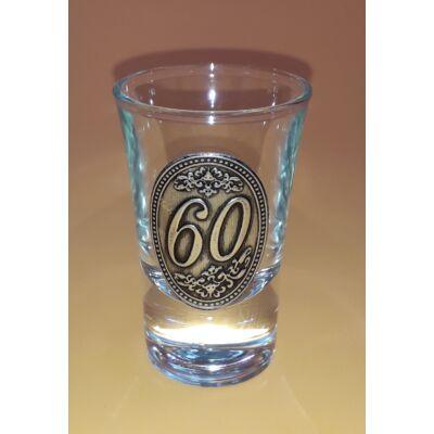 Óncímkés pálinkás pohár - 60 felirattal