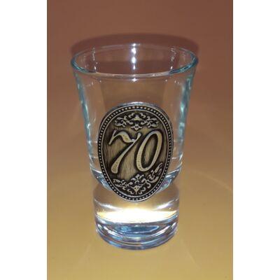 Óncímkés pálinkás pohár - 70 felirattal