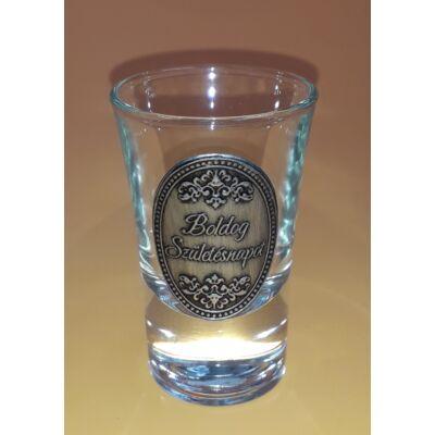 Óncímkés pálinkás pohár - Boldog Születésnapot felirattal