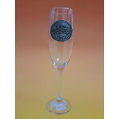 Óncímkés pezsgős pohár - Boldog Születésnapot felirattal