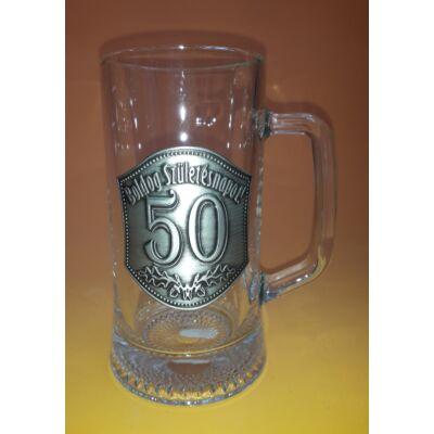 Óncímkés söröskorsó - Boldog Születésnapot! 50 felirattal