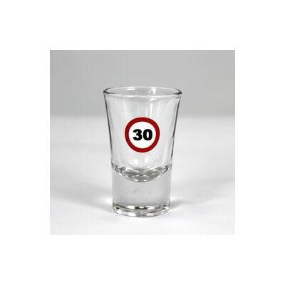 Sebessegkorlátozó mintás 30. születésnapi feles üvegpohár