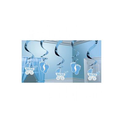 Kisfiú bébi parti spirális függő dekoráció - 60 cm, 5 db-os