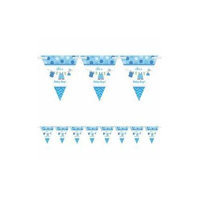 Zászlófüzér babaszületésre - kék, bébiruhás