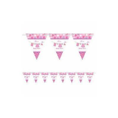 Zászlófüzér babaszületésre - pink, bébiruhás