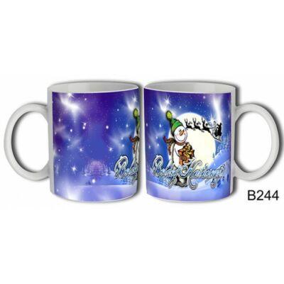 Bögre - Boldog Karácsonyt! (hóemberes, holdas)