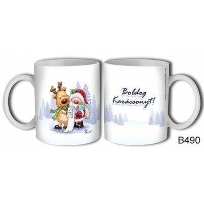 Bögre - Boldog Karácsonyt! (Télapó rénszarvassal)